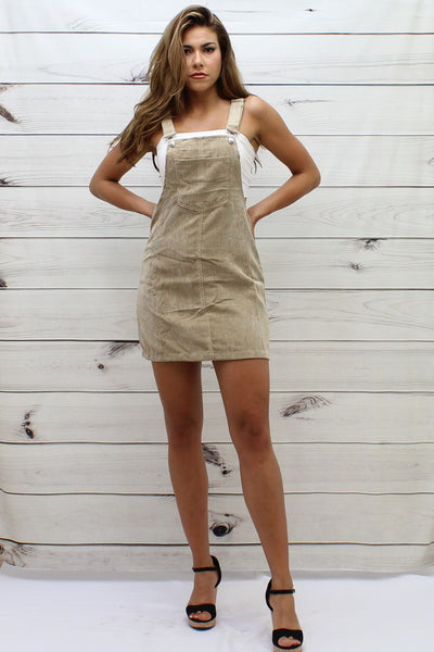 Corduroy Strap Dress/Overall - FashionPosh