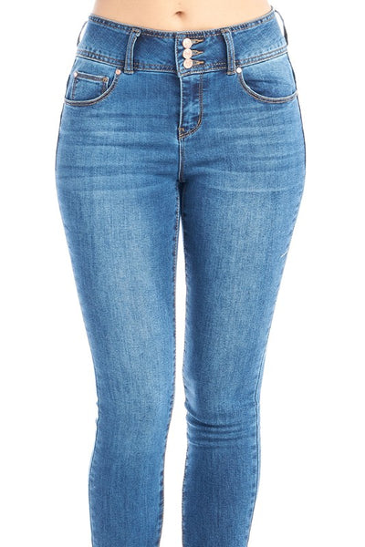 DP9902 CiSono Mid Rise Sculpting Skinny Denim Jeans - FashionPosh