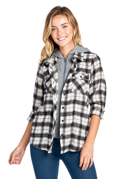 Double Layer Hooded Plaid Shirt - FashionPosh
