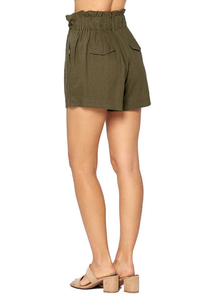 Solid Drawstring High Waist Linen Shorts - FashionPosh