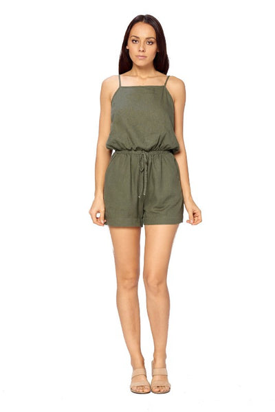 Linen Romper Shorts( Other Colors) - FashionPosh