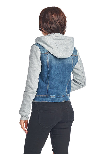 DJK85 Hooded Fleece Denim Jacket - FashionPosh
