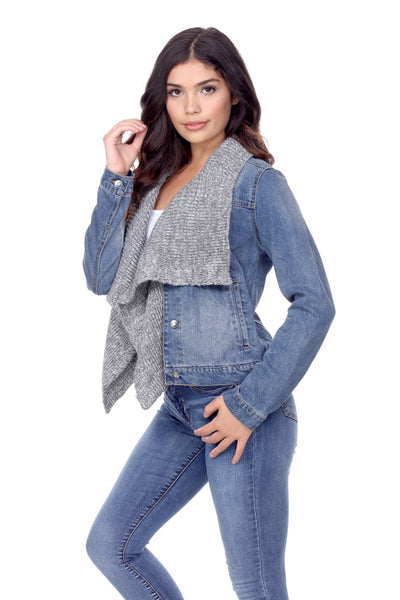 DJK88 Sweater Draped Front Denim Jacket