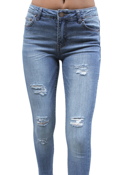 DP9864 Mid Rise Ripped Denim Jeans