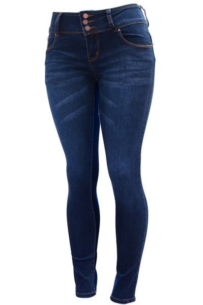 P9746 Exposed Buttons High waist Skinny Leg Jeans