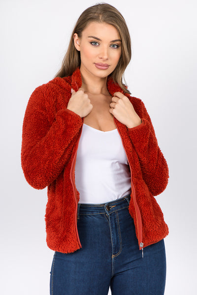 Cozy Sherpa Zip-Up HoodieJacket - FashionPosh