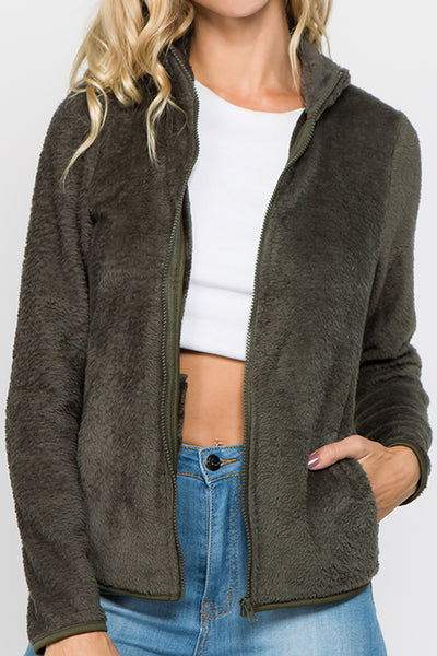 Cozy Sherpa Hooded Zip-Up Jacket (MORE COLORS) - FashionPosh