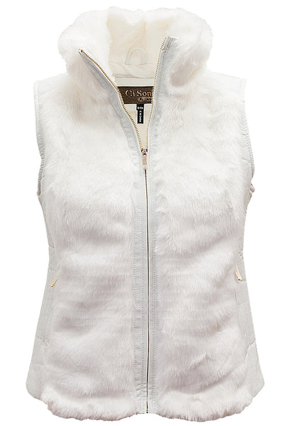 FV12 Faux Fur Vest W/ Pu Leather Trims