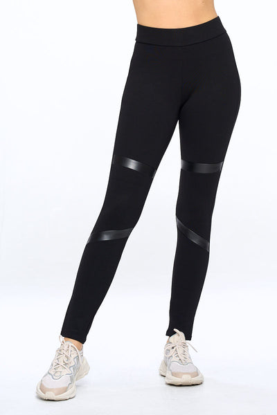 PP159 Ci Sono High Waist Leggings W/ Leather Stripes Detailing