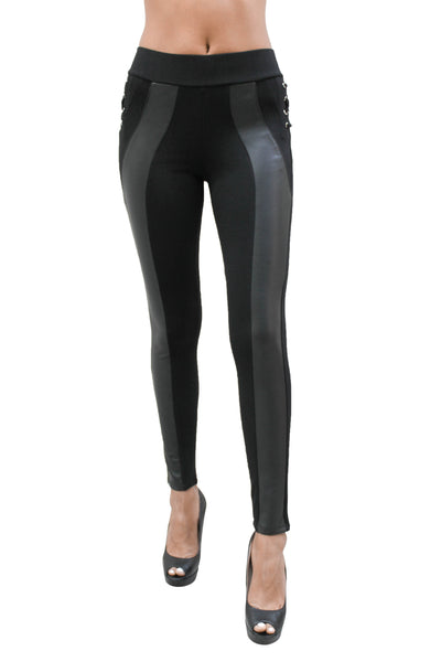 PP162 High Waist Leggings W/ Leather Detail