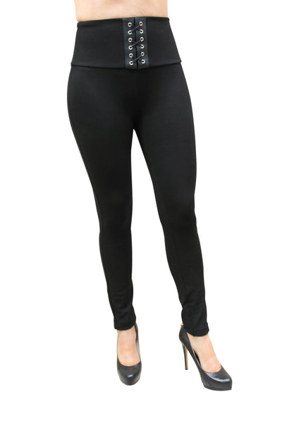 PP172 Sculpting High Waist Leggings W/Leather details