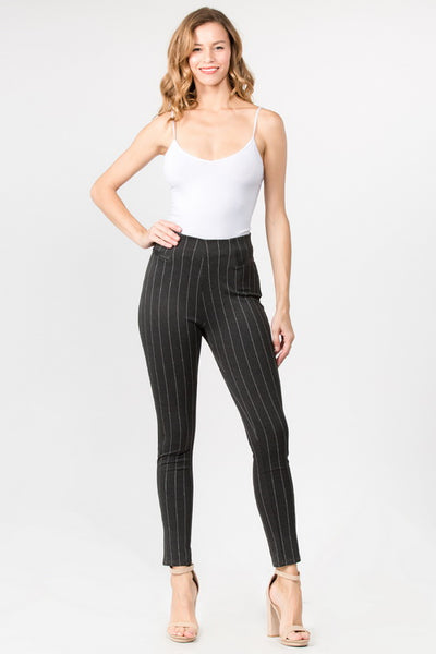 CiSono Stripped Ponte Leggings W/PU Leather Detailing - FashionPosh