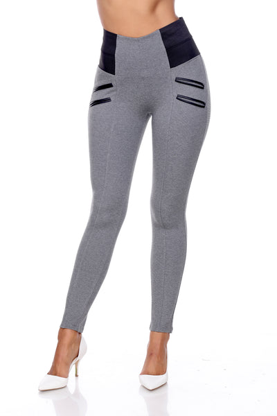 PP22 Ci Sono Ponte Leggings W/Leather Trim(More color options)