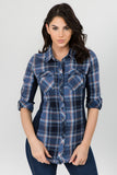 Ci Sono Ribbed Plaid  Shirt