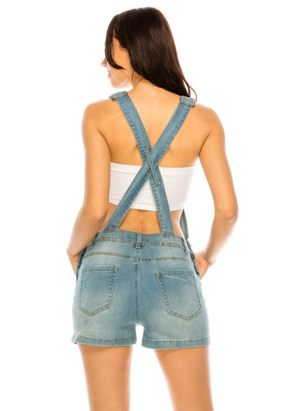 Denim Overall Shorts - FashionPosh