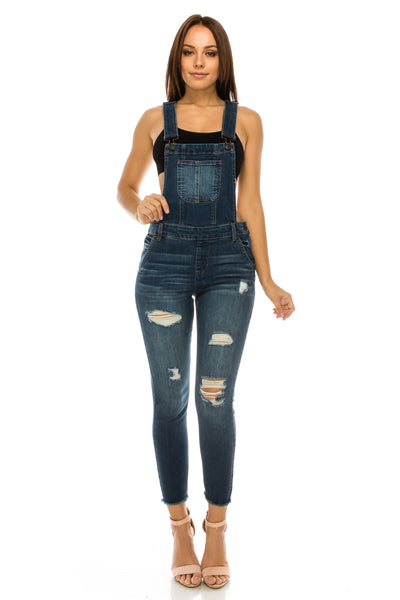 RP78 Distressed Long Denim Overalls