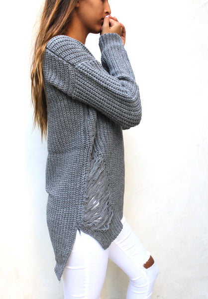 SW26178 Ripped Lose Fit Sweater (More Color Options)