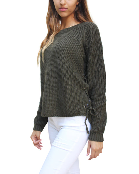 SW26231 Side Lace up Sweater (More Color Options) - FashionPosh