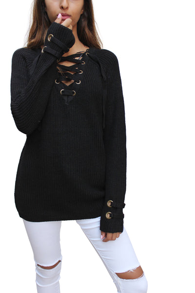 SW26254 Lace Up Long Sleeve Sweater ( More Color Options)