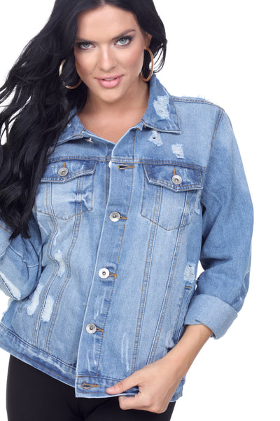 DJK54 Distressed Denim Jacket - FashionPosh