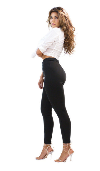 CiSono Ponte Leggings W/ Button Accents - FashionPosh