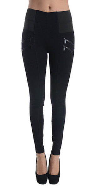 P9364 Ci Sono Elastic High Waisted Leggings - FashionPosh