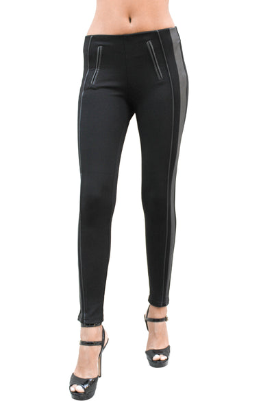 PP164 Ponte Leggings W/Slit Leather Pockets