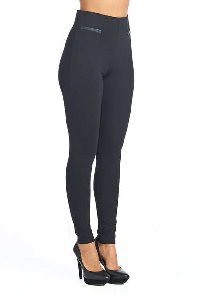 PP67 Ponte Leggings with PU Leather accents (More color options) - FashionPosh