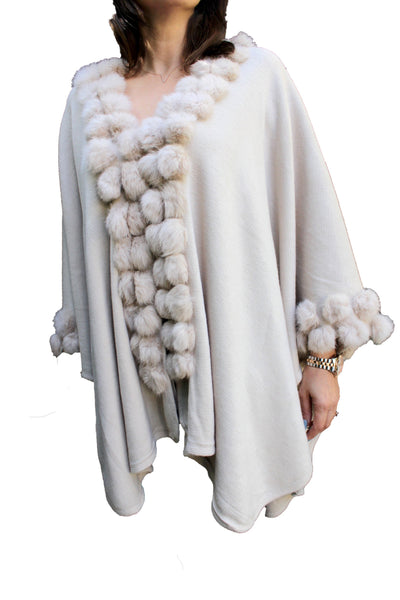 Ivory Shawl W/ Rabbit Fur Ball Details - FashionPosh