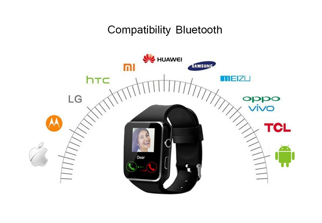 Smart Watch,Anti-lost Touch Screen Bluetooth SmartWatch ,Health Tracking,Pedometer Analysis, Sedentary Reminder, Sleep Monitoring,Prevent Sweat , TF/SIM Card Slot for Android and iso Phones (Black)