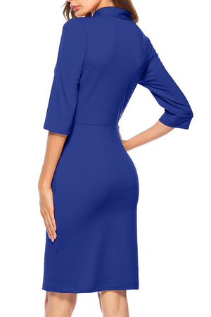 Berydress Women's Vintage Chic 50s Tie Neck Half Sleeve Sheath Bodycon Cocktail Party Pencil Dress With Pockets