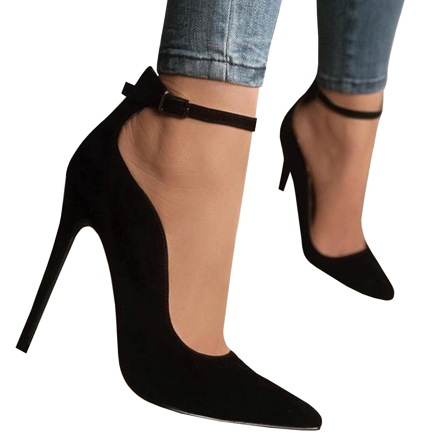 Ferbia Sandals For Women Casual Black Cusp Toe High Heeled Pumps Ankle Strap Shoes