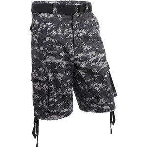 IH Mens Twill Cargo Shorts with Belt Loose Fit Multi Pocket Cotton Camouflage Outdoor Wear