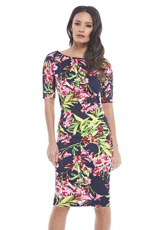 AxParis AX Paris Women's Black Floral Short Sleeved Midi Dress