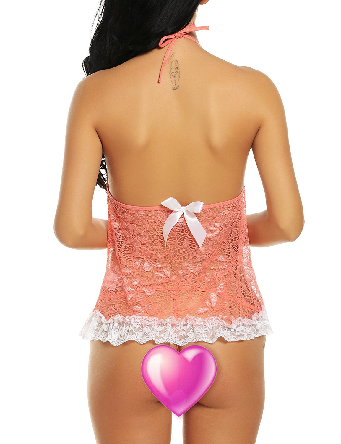 Avidlove Women's Sexy Lingerie Lcae Babydolls 2 Pieces Mesh Chemises With G-String