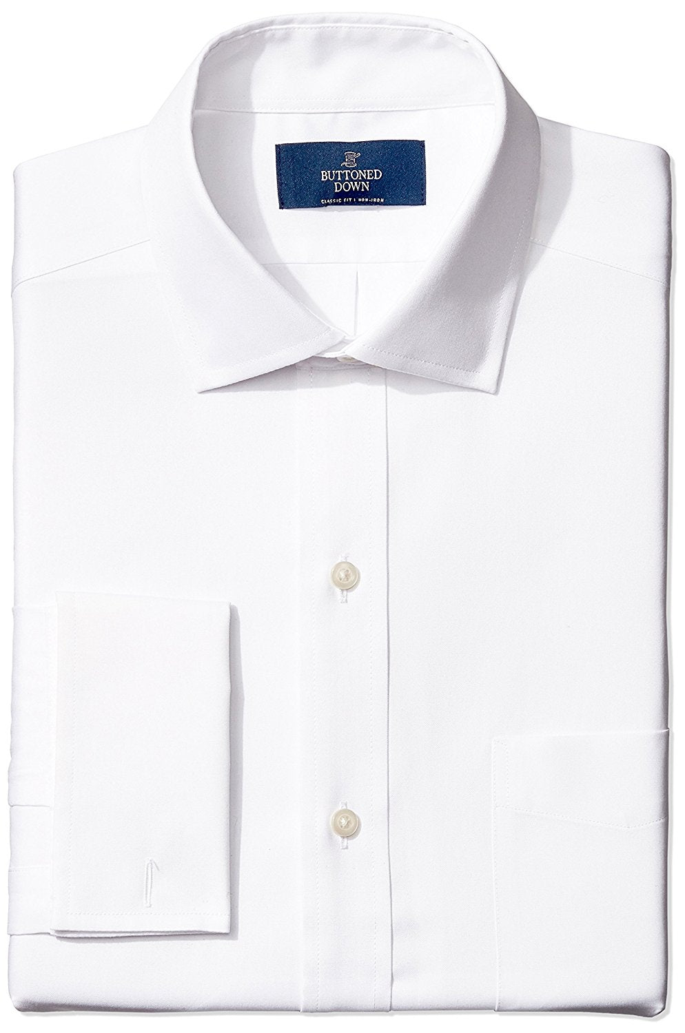 Buttoned Down Men's Classic Fit French Cuff Spread-Collar Non-Iron Dress Shirt With Pocket