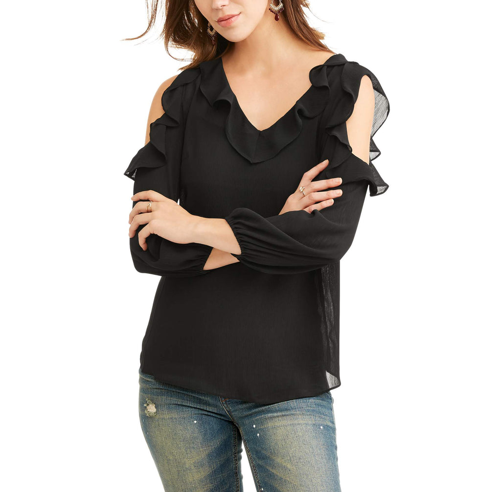 Lifestyle Attitudes Women's Cold Shoulder Ruffle Top