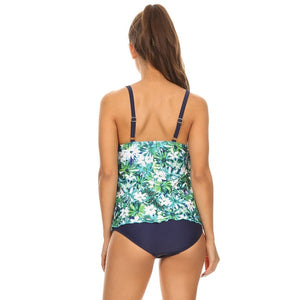 Dippin' Daisy's Women's Blue Flower Two-piece Halter Tankini with Boyshorts