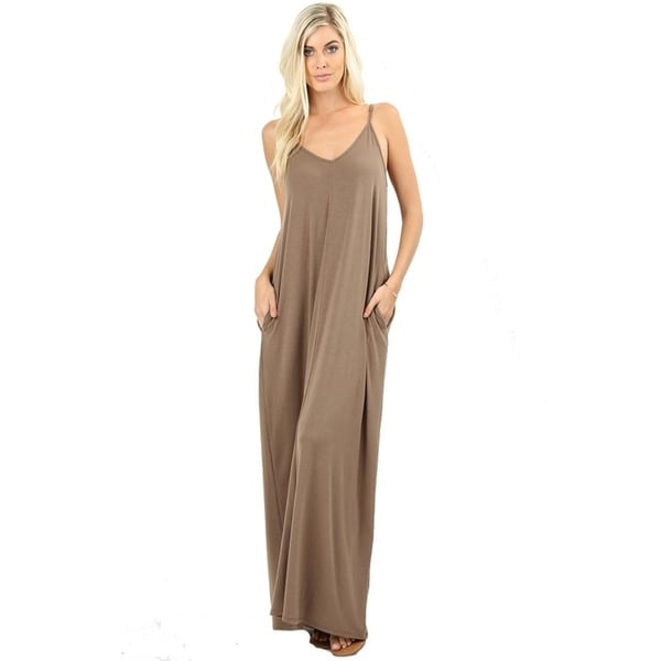 JED Women's Soft Fabric Tank Maxi Dress with Side Pockets 2018