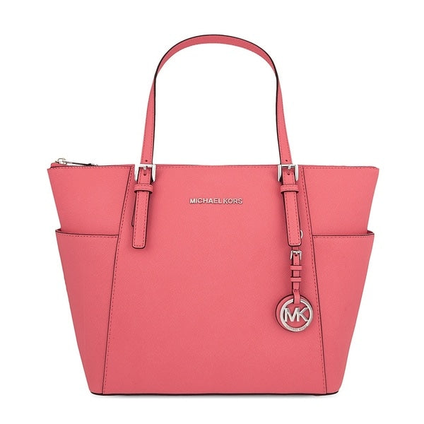 Michael Kors Jet Set Medium Coral Pocketed Top Zip Tote Bag