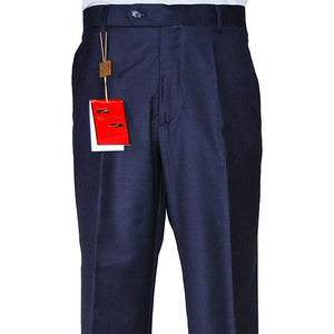 Men's Navy Blue Flat-front Wool Dress Pants