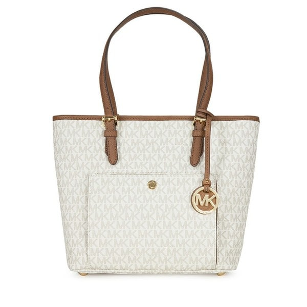Michael Kors Jet Set Vanilla Medium Top Zip Logo Tote Bag