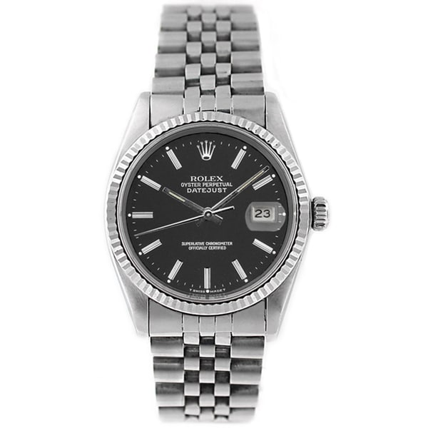 Rolex Men's Datejust 16014 Stainless Steel and White Gold Black Stick Watch
