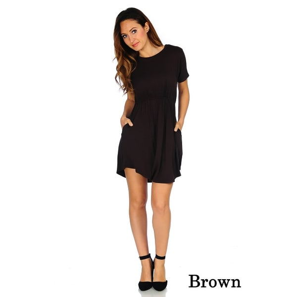 Simply Ravishing Women's Jersey Short Sleeve Blouson Dress (Size: S-3X)