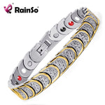 Rainso Fashion Jewelry Magnetic Health Care Elements Magnetic FIR Germanium 316L Stainless Steel Bracelets For Men OSB-768