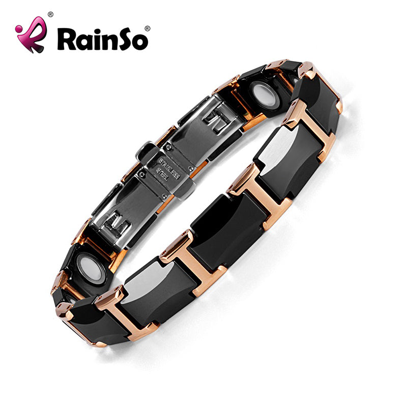 Rainso Black Charm Ceramic Tungsten Steel Energy Power Magnetic Link Bracelets for Women with Rose Gold color ORB-216-01BKRG