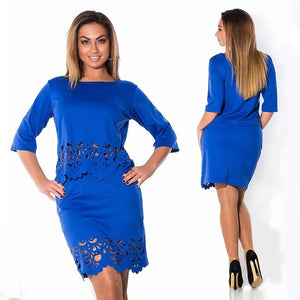 Elegant Sexy 2 piece set summer women dresses big size NEW  plus size women clothing L-6xl dress casual o-neck bodycon Dress
