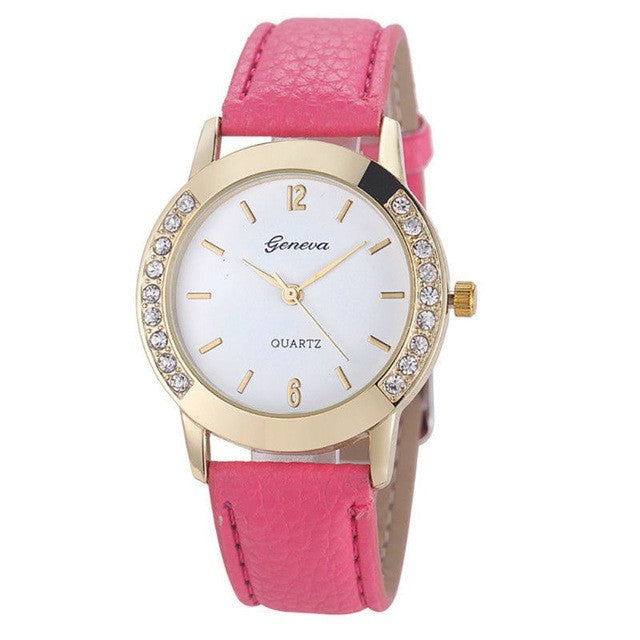 Women Geneva Watch Fashion Leather Stainless Steel Analog Quartz Wrist Watches