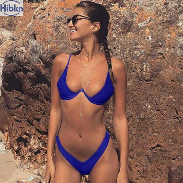 bikini  high cut thong bathing suit high waist swimsuit Solid swimwear women Brazilian Biquini swim beach micro bikini set