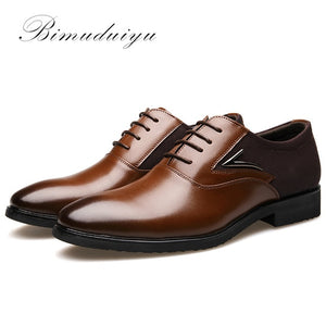 BIMUDUIYU Business Men's Basic Flat Super fiber Leather Dress Shoes
